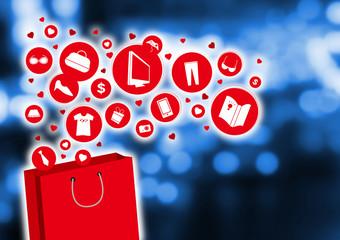 Shopping bag and fashion icon design