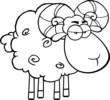 Black And White Angry Ram Sheep Cartoon Mascot Character