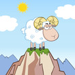 Angry Ram Sheep Cartoon Mascot Character On Top Of A Mountain