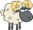 Angry Black Head Ram Sheep Cartoon Mascot Character