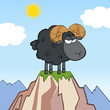 Angry Black Ram Sheep Cartoon Character On Top Of A Mountain