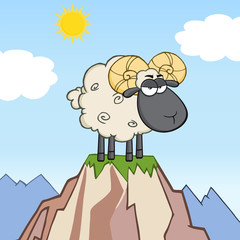 Angry Black Head Ram Sheep Character On Top Of A Mountain