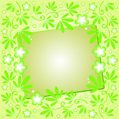 Green background with floral ornament