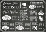 Grunge Chalkboard Restaurant Menu Template mouse pad