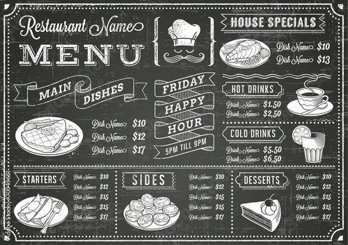 Grunge Chalkboard Restaurant Menu Template - 70949681