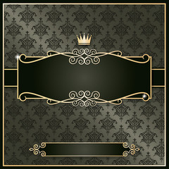 Royal vintage frame on damask. Luxury template.
