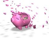 broken piggy bank isolated illustration, spending money concept poster
