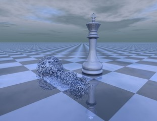 win loose abstract concept with chess king