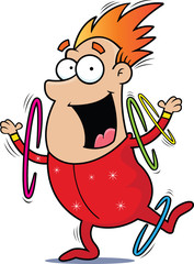 Cartoon Circus Performer Ring Twirler