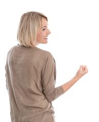 Mut: ältere Frau hat ihr Ziel erreicht - kraftvoll und energisch