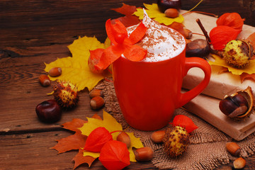 autumn composition with coffee (cappuccino)
