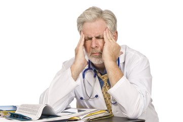 Tired Doctor With Headache