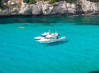 Two yacht moored in cala Macarella