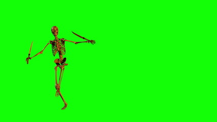 Skeleton Dancescwith Swords (Left Side - Green Screen)