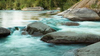 Rapids on the Evening River. Time Lapse