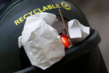 Recyclable waste in a bin