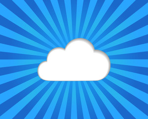 Cloud computing concept on a blue striped background