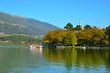 Leinwanddruck Bild - Ioannina lake Pamvotis and boat to the island