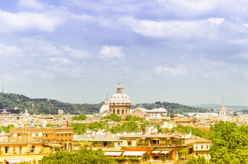 Panorama of Rome and St. Peter Basilica in Vatican