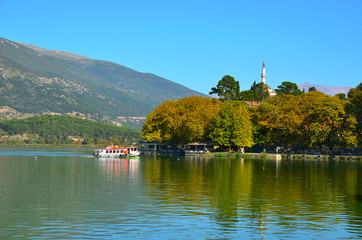 Ioannina lake Pamvotis and boat to the island
