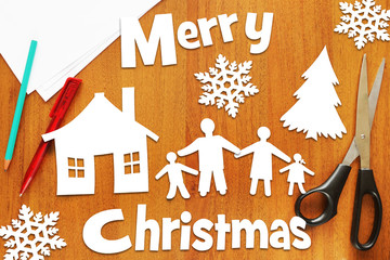 Concept of Christmas holidays and happy family