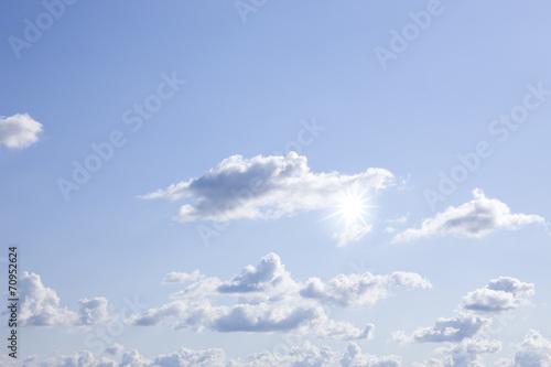 canvas print picture Wolken und Sonne am Himmel