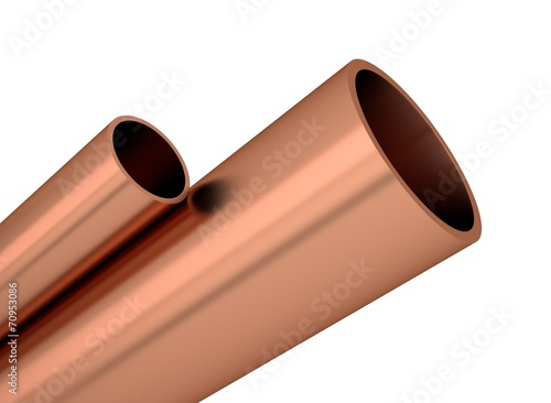 canvas print picture Kupfer Rohre Profile aufsteigend