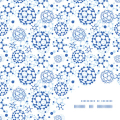 Vector blue molecules texture frame corner pattern background