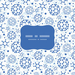 Vector blue molecules texture frame seamless pattern background