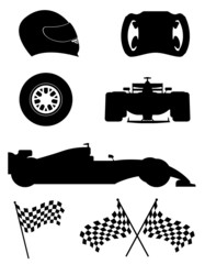 black silhouette set racing icons vector illustration