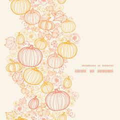 Vector thanksgiving line art pumkins vertical frame seamless