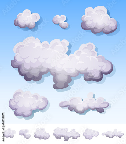 Cartoon Smoke, Fog And Clouds Set