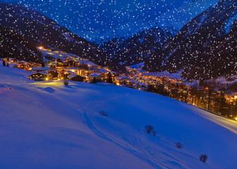 Mountains ski resort Solden Austria at sunset