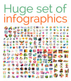 Huge mega set of infographic templates poster