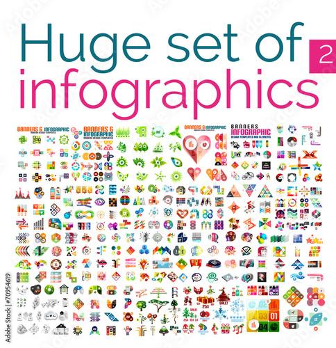 Huge mega set of infographic templates poster