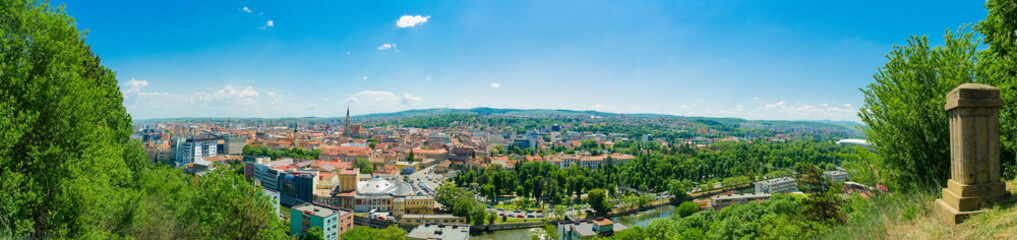 Panoramic wide view from above of historic center of Cluj