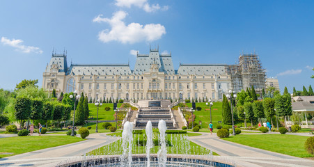 Iasi Cultural Palace with a beautiful park and people