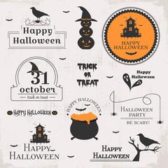 Set of halloween labels