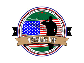Grunge rubber stamp with the text Veterans Day written inside