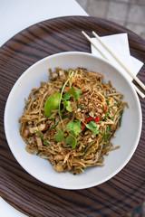 Noodles, shrimp, tofu and peanuts