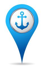 blue location anchor icon pin