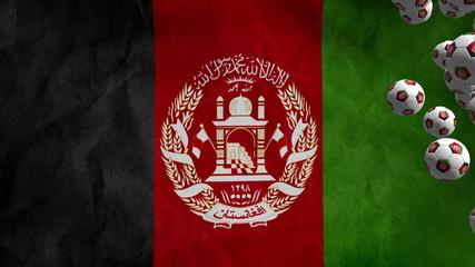 Afghanistan soccer balls fly on flag background