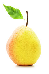 Perfect ripe pear with a green leaf