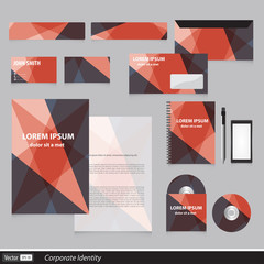 Color corporate identity template with triangles.