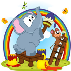 elephant and mouse draw rainbow - vector  illustration, eps