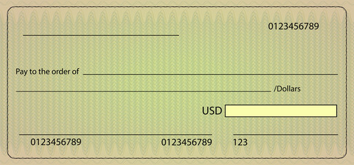 Bank check blank order. Vector stock illustration