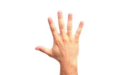 Human hand counting from zero to five. White background.