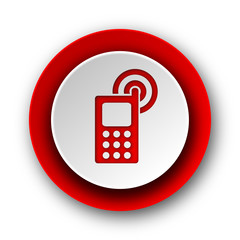 phone red modern web icon on white background