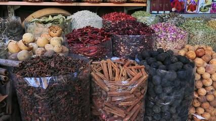 Pan shot of spice market in Dubai, United Arab Emirates