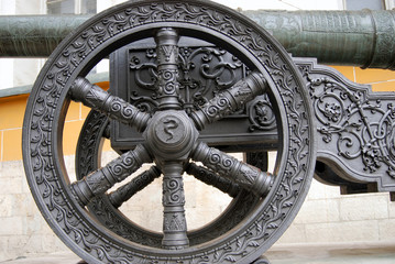 Old cannon in Moscow Kremlin. UNESCO Heritage Site.